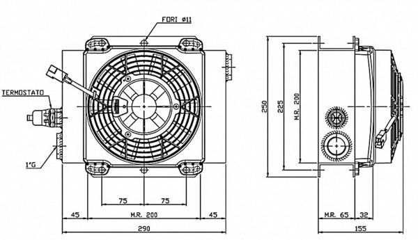 Ferrari oliekøler FCA 25-140 12V inkl. termostat