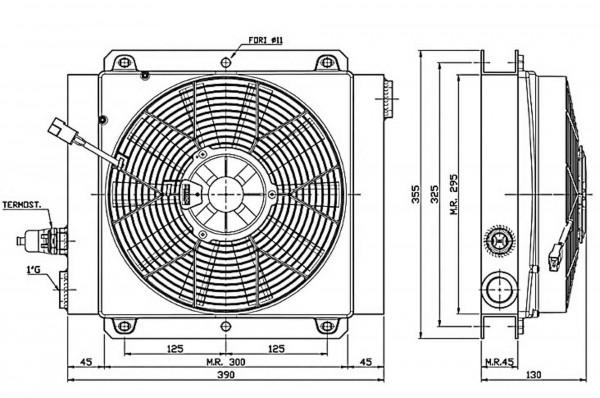 Ferrari oliekøler FCA 45-90 12V inkl. termostat